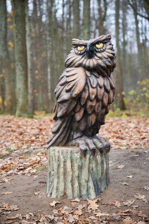 St. Petersburg, Russia - November 4, 2020: Park Dubki in Sestroretsk. Children's playground with sculptures of fairy-tale characters. Owl on a tree stump