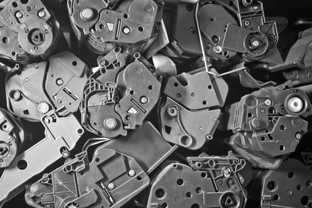 cartridges: Shelving old cartridges from laser printers. Used toner cartridges from laser printers