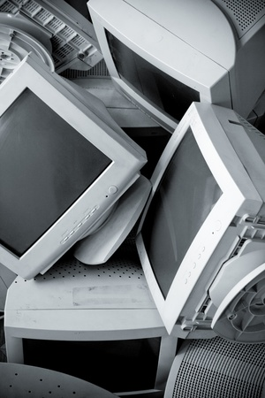 Old broken monitors. The Scramble. Conversion photo