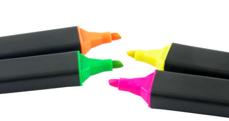 Four colorful markers isolated over white surface photo