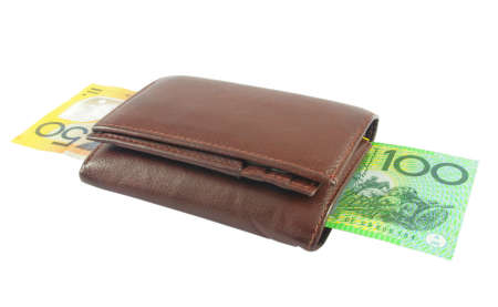 Brown wallet with Australian money over white Stock Photo - 9127500