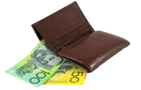 Brown wallet with Australian money over white photo