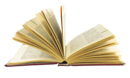 english dictionary: open old english dictionary on white