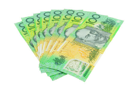 money exchange: australian hundred dollars notes on white surface Stock Photo