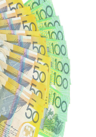 australian  money banknotes on white surface Stock Photo