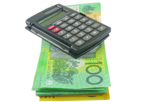closeup of calculator with australian money photo