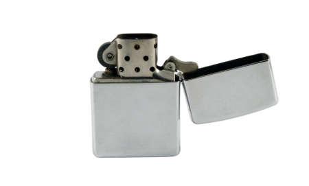 silver metallic popular lighter isolated over white photo