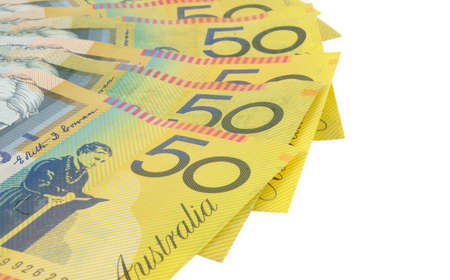 closeup of australian fifty dollars notes photo