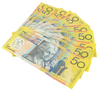 closeup of australian fifty dollars notes