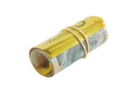 australian fifty dollars notes on white photo