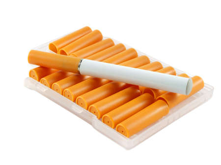 Closeup of electronic cigarette with filters over white surface Stock Photo - 9927974