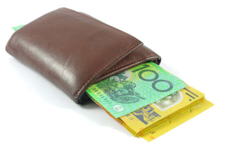 wallet with australian money over white photo