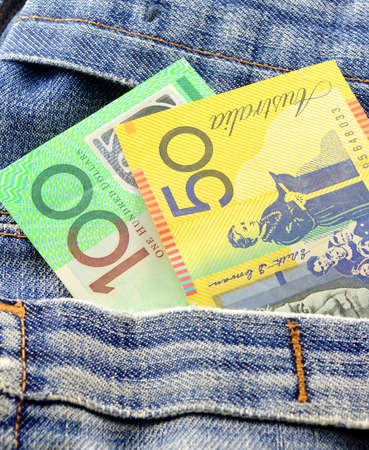 australian money in jeans pocket photo