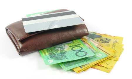 wallet with australian money and credit card over white Stock Photo - 9927999