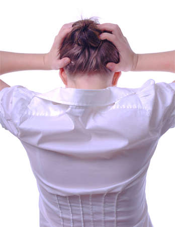 stressed business woman with hands over head photo