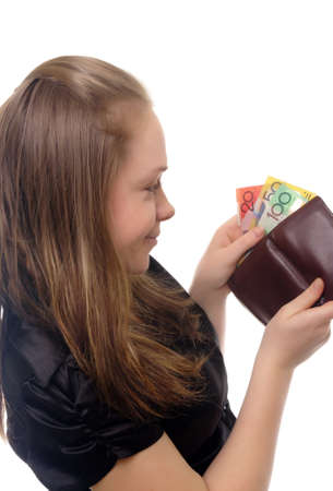 young businesswoman with australian money photo