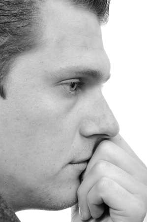young man in depression. black and white