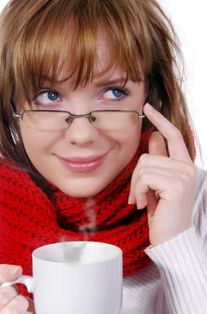 winter girl with glasses and cup photo