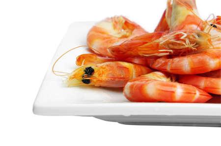 prawns closeup on the plate