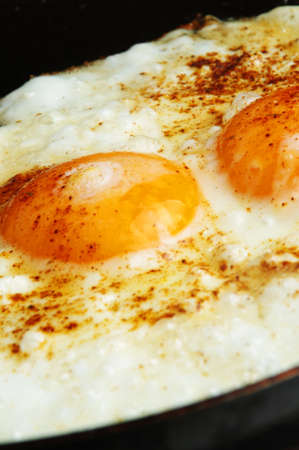 closeup of fried eggs on pan photo