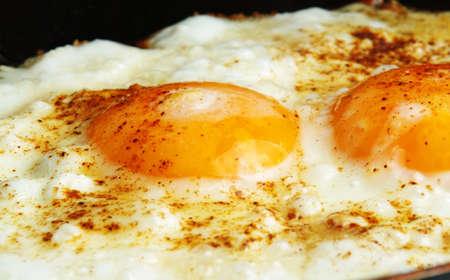 closeup of fried eggs on pan photo