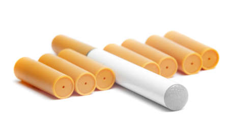 electronic cigarette with filters closeup Stock Photo