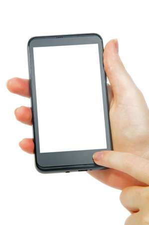 modern smartphone in female hand on white photo