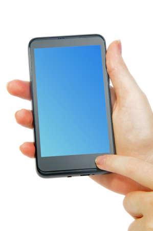 modern smartphone in female hand on white