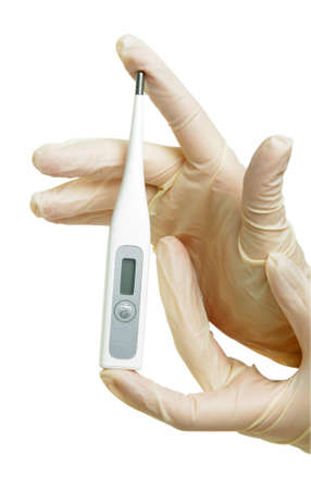 hand with medical gloves and thermometer on white photo