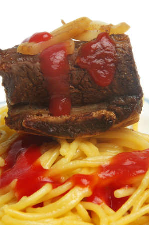bone steak meat with spaghetti photo