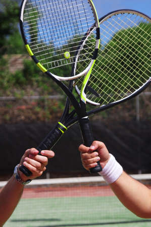 two tennis players with rackets Stock Photo - 13389835