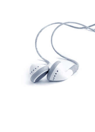 earphones on white background.blue tone photo