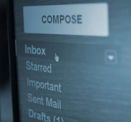 inbox mail folder closeup.focus on cursor photo