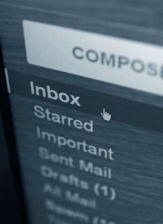 Posteingang-Mail-Ordner Nahaufnahme Standard-Bild