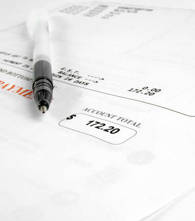 closeup of the bill and pen Stock Photo