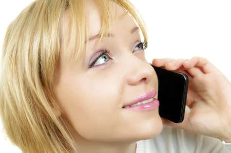 portrait of woman talking on phone photo