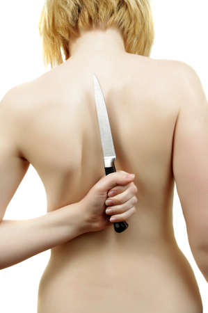 bare woman back with knife photo