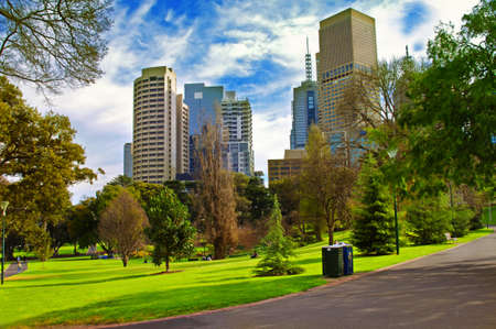 city living: city park in sunny day.Melbourne Australia Stock Photo