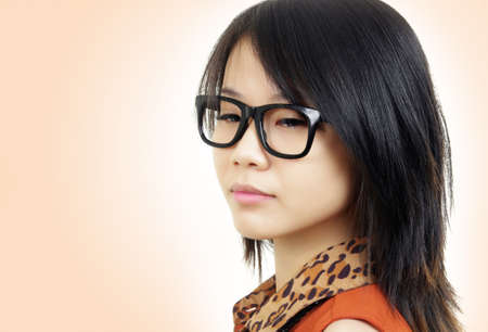 beautiful asian girl with eyeglasses photo