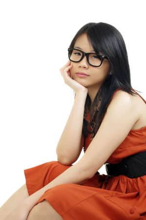 beautiful asian girl with eyeglasses Stock Photo