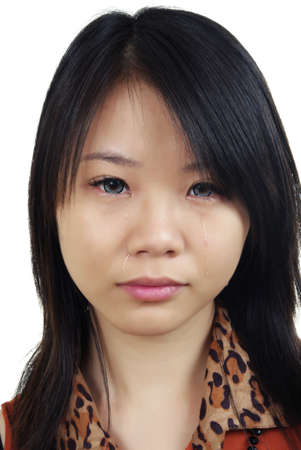 portrait of beautiful crying asian woman Stock Photo