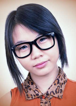 beautiful asian girl with eyeglasses photo
