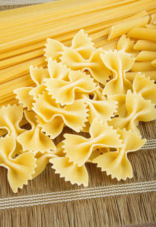 raw pasta closeup on table Stock Photo