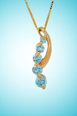 diamond necklace on blue background