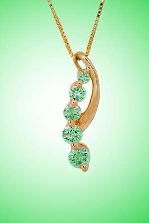 diamond necklace on green background Stock Photo