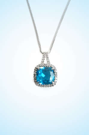 diamond necklace: blue diamond necklace closeup