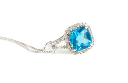 gem: blue diamond necklace closeup Stock Photo