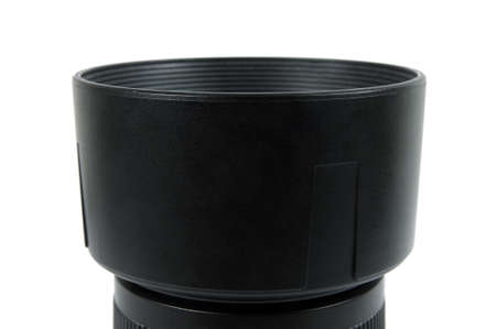 big black camera lens hood on white photo