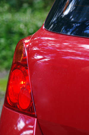 taillight: rear view of modern red car Stock Photo