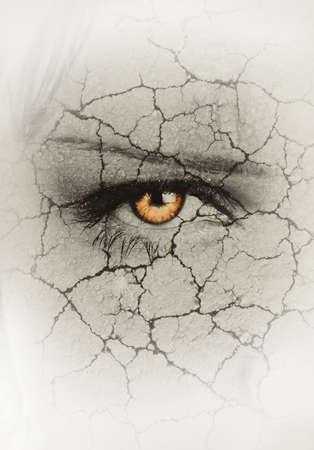 womans face closeup with cracks  drought concept